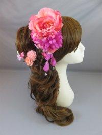 [髪飾り 着物・成人式・袴・卒業式・結婚式用]バラ&マム花髪飾り 花びらさがり付き ピンク&パープル/紫