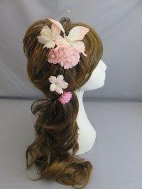 髪飾り 着物 成人式 振袖 袴 卒業式 結婚式 七五三 蝶々 つまみ細工 花 マム 桜 髪飾り ピンク ホワイト 白