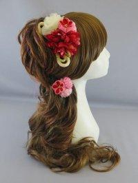 [髪飾り 着物・成人式・袴・卒業式・結婚式用]ちりめん花・大振り花髪飾り・ちりめん・いぶしゴールドひも・赤・濃い ピンク・薄いピンク