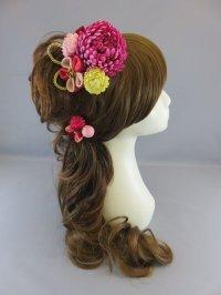 [髪飾り 着物・成人式・袴・卒業式・結婚式・七五三用]マム花髪飾り ワイン・ピンク・赤・クリーム&いぶしゴールド紐付き