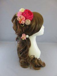 [髪飾り 着物・成人式・袴・卒業式・結婚式・七五三用]マム花髪飾り 濃いピンク&薄いピンク・白・クリーム&いぶしゴールド紐付き