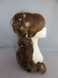 [髪飾り 着物・成人式・袴・卒業式・結婚式用]パール・ビーズピン ゴールド/金 さがりピン付き