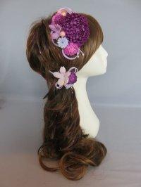 髪飾り 着物 成人式 振袖 袴 卒業式 結婚式 七五三 マム ちりめん 桜 髪飾り 紐 紫 パープル ピンク
