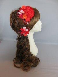 髪飾り 着物 成人式 振袖 袴 卒業式 結婚式 七五三 マム ちりめん 桜 髪飾り 紐 赤 オレンジ  ピンク
