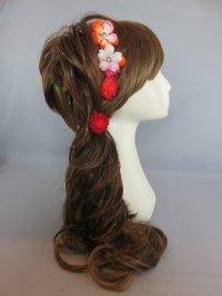 髪飾り 着物 成人式 振袖 袴 卒業式 結婚式 七五三 ちりめん つまみ細工 髪飾り  赤 オレンジ グラデーション 花 ピンク