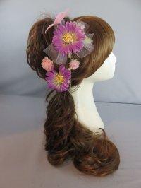 髪飾り 着物 成人式 振袖 袴 卒業式 結婚式 七五三 蝶々 花 髪飾り パープル 紫 ピンク パール さがり付き 4点セット髪飾り