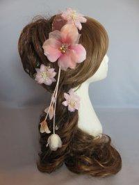 髪飾り 着物 成人式 振袖 袴 卒業式 結婚式 七五三 ちりめん 花 髪飾り バラ つぼみ 花びら ビーズ さがり付き ピンク 4点セット