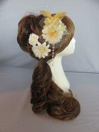 髪飾り 着物 成人式 振袖 袴 卒業式 結婚式 七五三 蝶々 花 髪飾り  白・オレンジ・黄色  パール さがり付き 3点セット髪飾り