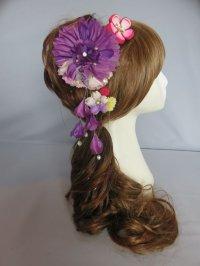 髪飾り 着物 成人式 振袖 袴 卒業式 結婚式 七五三 花 ちりめん つまみ細工 髪飾り さがり付き 紫 ピンク エンジ 黄色 3点セット