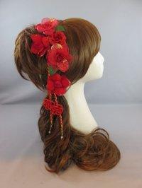 髪飾り 着物 成人式 振袖 袴 卒業式 結婚式 七五三 ちりめん薔薇 花 髪飾り 飾り紐付き レッド 赤 6点セット