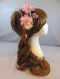髪飾り 着物 成人式 振袖 袴 卒業式 結婚式 七五三 羽 グラデーション 花 さがり ピン レッド 赤 ピンク 紫 4点セット